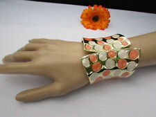 "WOMEN 3.25"" WIDE GOLD METAL CLAWS CUFF FASHION BRACELET WHITE PEACH POLKA DOTS"