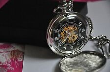VINTAGE SKELETON Men's Mechanical Pocket Watch in Acciaio Inox Uomo Scatola Regalo