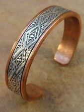 Beautiful Navajo Stamped Copper & Sterling Silver Bracelet