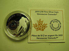 2015 Proof $10 NHL-Vancouver Canucks Canada .9999 silver COIN&COA ONLY ten dolla