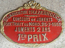 French farm show metal plaque prize Trait du Nord draft horse Hazebrouck 1955