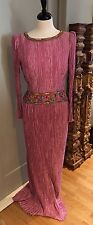 Mary McFadden Couture Gown Fortuny  Pleated Beaded Embroidered Size 10