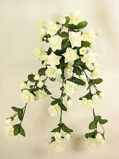 Wired Artificial Flowers Cream Rose Trailing Plant for Hanging Baskets, Wedding