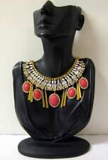 STATEMENT GLAM FAUX CRYSTAL STONE EGYPTIAN FRINGE COLLAR BIB NECKLACE GOLD RED