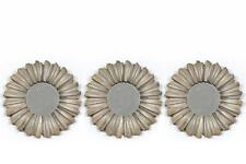 Set of 3 25cm Champagne Gold / Bronze Round Distressed Sunburst Design Mirrors