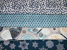 4 FQ Bundle – Gray Turquoise Navy Prints 100% Cotton Quilt Fabric Fat Quarters