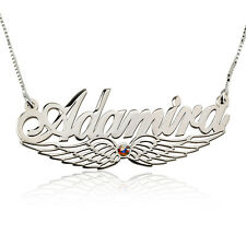 Angel Wing Name Necklace with Birthstone Sterling Silver Nameplate Gift for Her