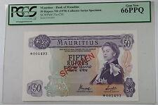 (1978)Bank of Mauritius 50 Rupee Specimen Note SCWPM#33c-CS1 PCGS 66 PPQ Gem New