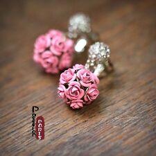 Boucles d`Oreilles Clips Pendant Fleur Rose Vintage Retro Original Soirée D3