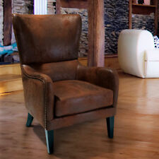 Large Accent Club Chair Classic Modern Studded Trim Rustic Brown Fabric Home