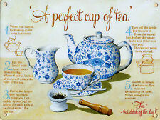 New 30x40cm PERFECT CUP OF TEA instructions vintage enamel style tin metal sign