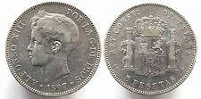 ESPAÑA: 5 pesetas plata 1897 Rey Alfonso XIII  Tipo Flequi  *OFERTA duro plata*