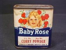 Vintage Baby Rose Brand Spice Tin Armstrong Grocery Sharon PA Unopened Curry