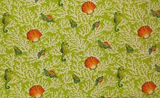 "MILL CREEK KITTERY APPLE SEAHORSE SEASHELL CORAL OUTDOOR FABRIC BY THE YARD 54""W"