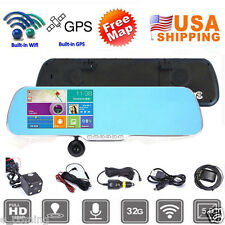 "5"" 1080p Android GPS Touch Screen Car DVR Camera Dual Lens WiFi Rearview Mirror"