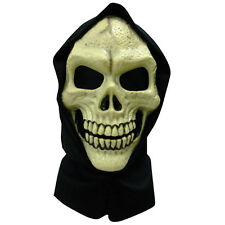 Skull Hooded PVC Face Mask Skeleton Skeletor Halloween Fancy Dress Grim Reaper
