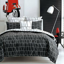Deco City Living HEMLEY BLACK Queen Size Bed Doona Duvet Quilt Cover Set NEW