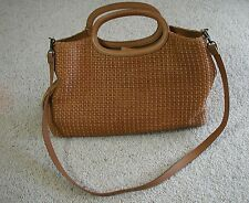 Fossil Brown Woven Straw &  Leather Tote Bag Shoulder Bag