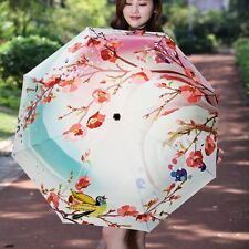 Folding Compact Umbrella Windproof Rain/Clear Parasol Plum Flower&Bird Umbrella