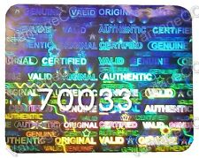 105x LARGE Security Hologram Stickers, NUMBERED, 25mm x 20mm Warranty Labels