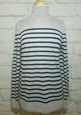 J CREW COLLECTION Italian Cashmere Black Gray Striped Turtleneck Sweater L