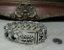Antique Sterling Silver Super Heavy Fleur De Lis Biker Bracelet for Man or Woman