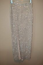 Sz XS Haute Hippie Nude Beige Silver Sequin High Slit Long Formal Cocktail Skirt