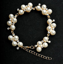 Gold Pearl Bracelet Charm Crystal Zircon Diamond Pearl for Wedding Prom Birthday