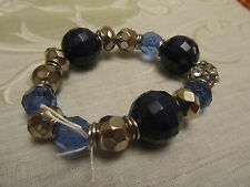 Faceted Blue & Silver Tone Plastic Bead Bracelet - elasticated