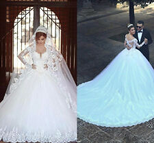 New White/Ivory Wedding Dresses Ball Gown Applique Bridal Gown With Long sleeves