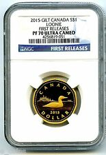 2015 CANADA SILVER PROOF LOONIE DOLLAR NGC PF70 UCAM .9999 FINE GILT GOLD LOON