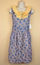 Knitted Dove Dress M Anthropologie Floral Spring Boho Ruffled Peterpan Collar