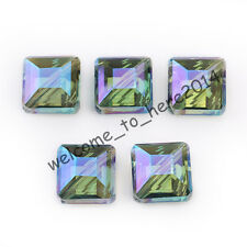 10 pcs Faceted Glass Crystal Diagonal Square Spacer Beads Green Colorized 14mm