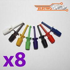 Lote 8 Puntas de prueba varios colores clip test hook 1,7 4 gancho pinza