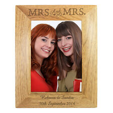 Personalised 6x4 Mrs & Mrs Wooden Photo Frame, Gay Lesbian Same Sex Wedding Gift