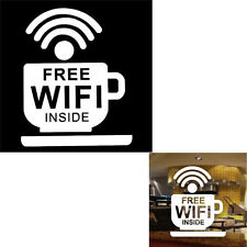 Free WiFi Cup Decor Sign Decal Sticker For Window Wall Coffee Cafe Shop Bar Pub