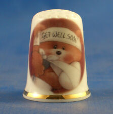 Birchcroft China Thimble -- Get Well Soon  -- Free Dome Gift Box
