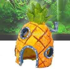 Resin SpongeBob Pineapple House Hole Fish Tank Aquarium Decoration YellowAU