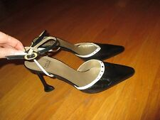Vtg Ladies Charles Jourdan Paris Black White Ankle Strap Funky Heels Size 9.5M
