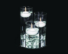 Set 3 Glass Floating Candle Holders 20 cm Mirror Plate Gems Wedding Centrepiece