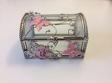 Handcrafted Gift Glass Jewelry Box/chest w Butterfly & Flower in Natural Shell