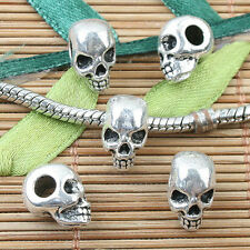Alloy metal Tibetan Silver skull head  spacer bead 10pcs EF0031