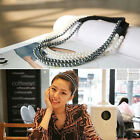 Girls Korean Style Elastic Hair Hoop Womens 2 Layer Pearl Hair Band Headband New