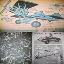 8 VINTAGE AIRPLANE PEDAL CAR SIDEWALK TRACTOR PLANS 13S
