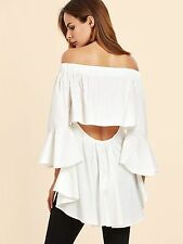White 3/4 Bell Sleeve Off Shoulder Peeka Boo Back Asymmetrical Top Blouse L