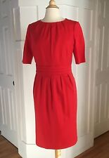 Anthropologie Boden Red Dress Short Sleeve Pleated 12 Work Business Wool Blend