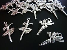 20 pce Mix Metal Antique Silver Ballerina & Fairy Charm / Pendants