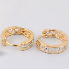 Stylish 9K Gold Filled Women's Hollow Out Hoop Earrings Womens The Newest Design