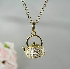N11 18K Gold Plated Tea Pot Kettle Pendant Necklace with Crystals -  Gift boxed