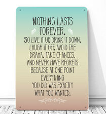 Nothing lasts forever Marilyn Monroe quote sign A4 metal plaque gift